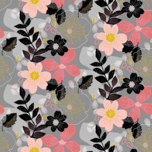 bloemen sweatstof grijs