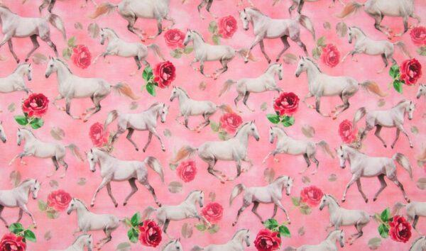 Digitale tricot roze paarden